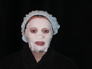 Me wearing the placental mask from Monte Carlo---EEEK!!!